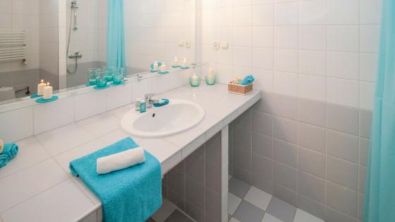 Bathroom renovation saskatoon blue and white countertop