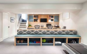 Gym-storage-basement-contemporary-with-home-office-gymoffice-combo-built-in-seat